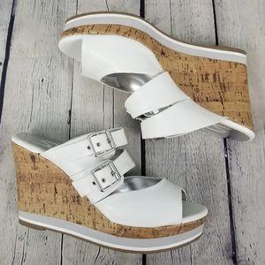 SKECHERS   strappy cork wedge buckle sandals